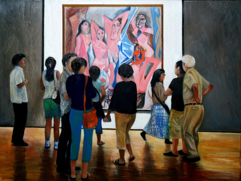 Admiring Picasso's  Les-Demoiseller-dAvignon (oil)