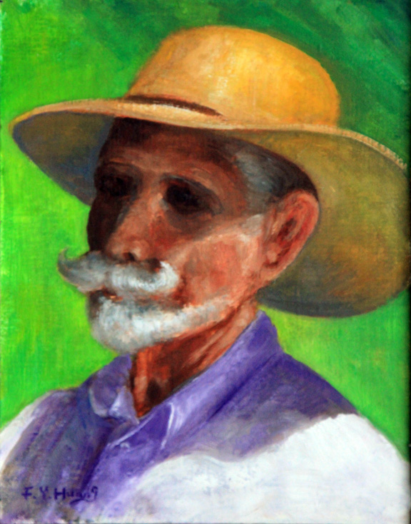 Bearded Man with Yellow Hat (oil)