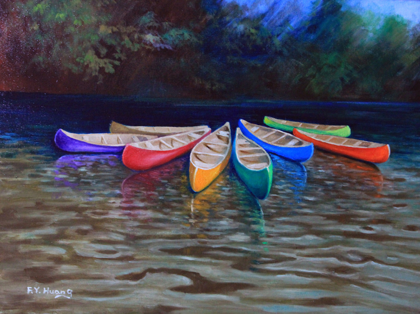 Canoes (oil)