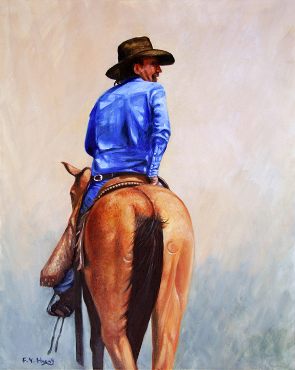 Cowboy on Horse Back (oil)