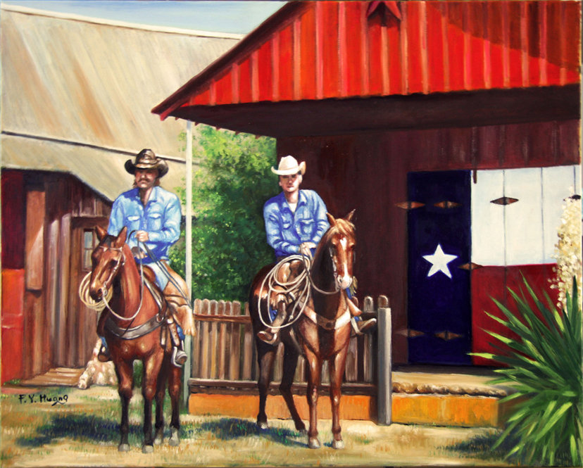 Cowboys in front of General Store (oil)