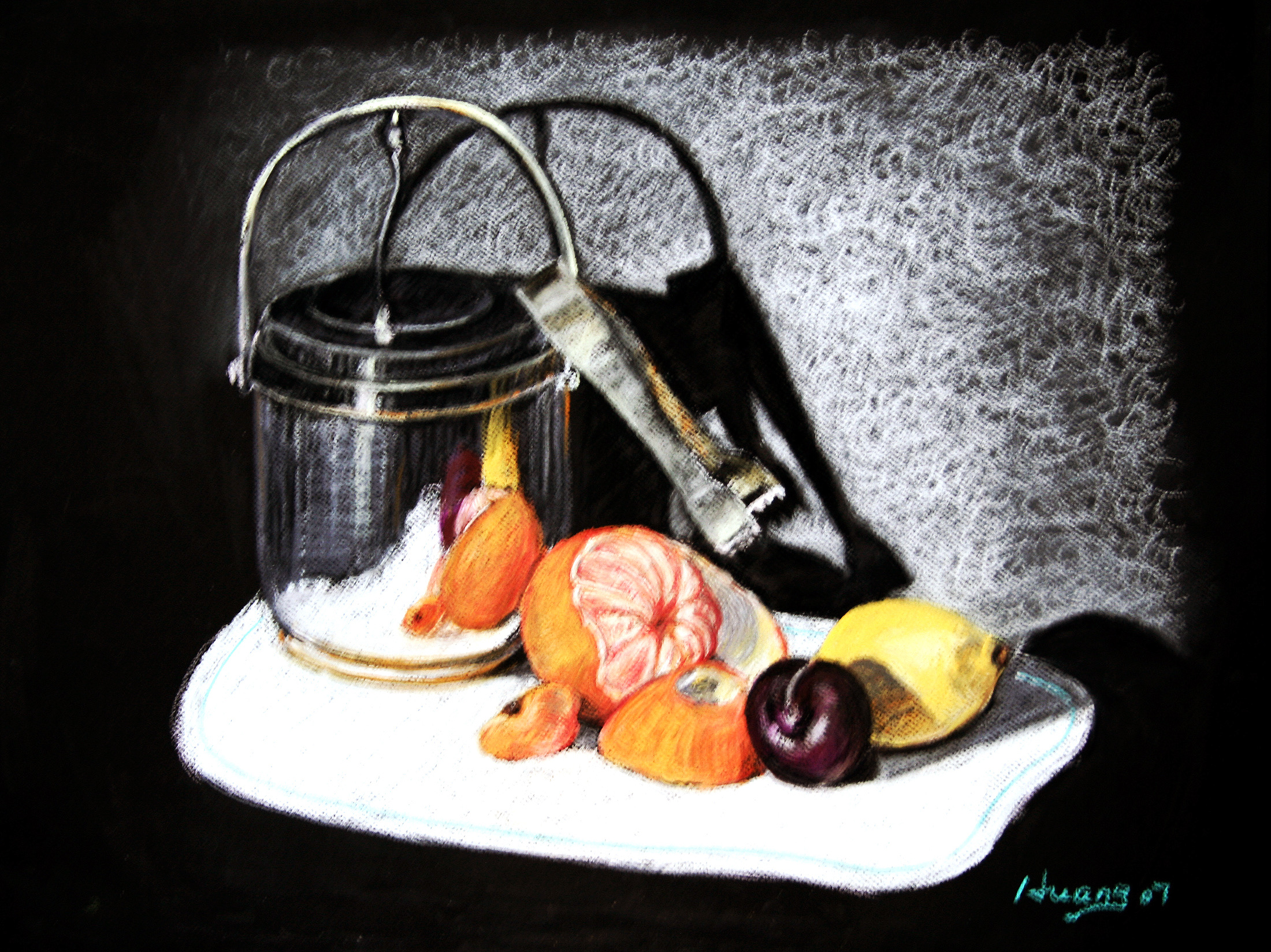 Ice Bucket and Fruits (pastel)