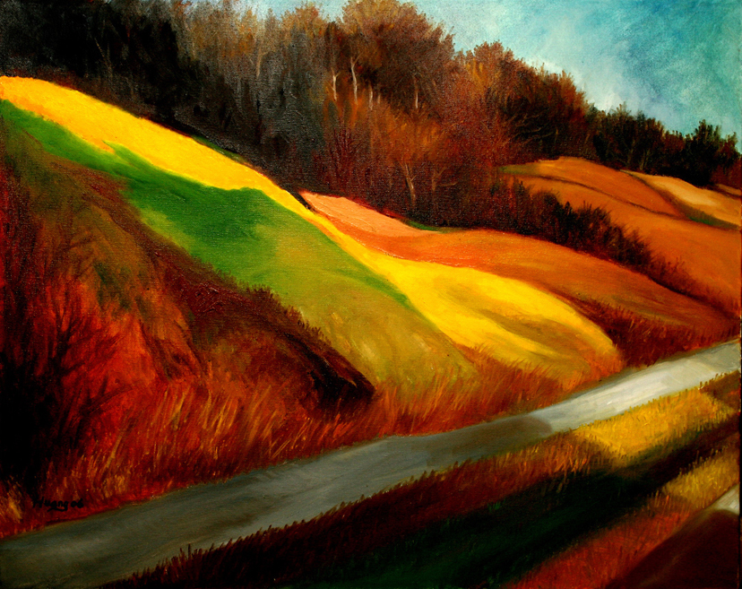 Fall Color on the Way to Work (oil)