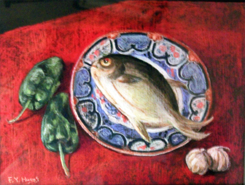 Fish on Decorated Plate (pastel)