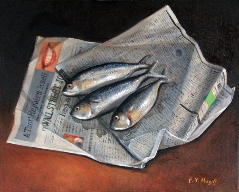 Fish on Newspaper (oil)