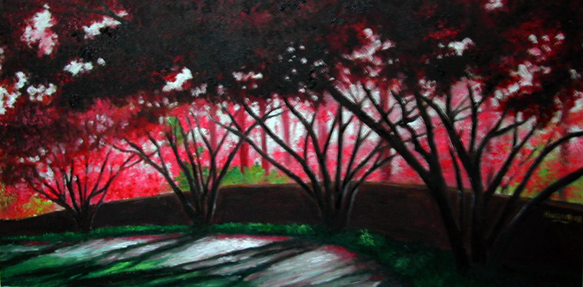 Japanese Maple and Stone Wall (oil)