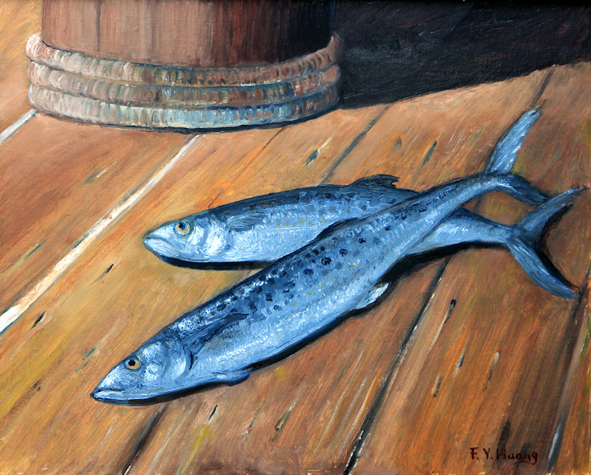 Mackerel on Boat Deck (oil)