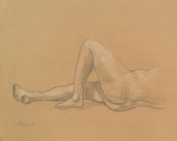 Male Nude (pencil and white chalk)