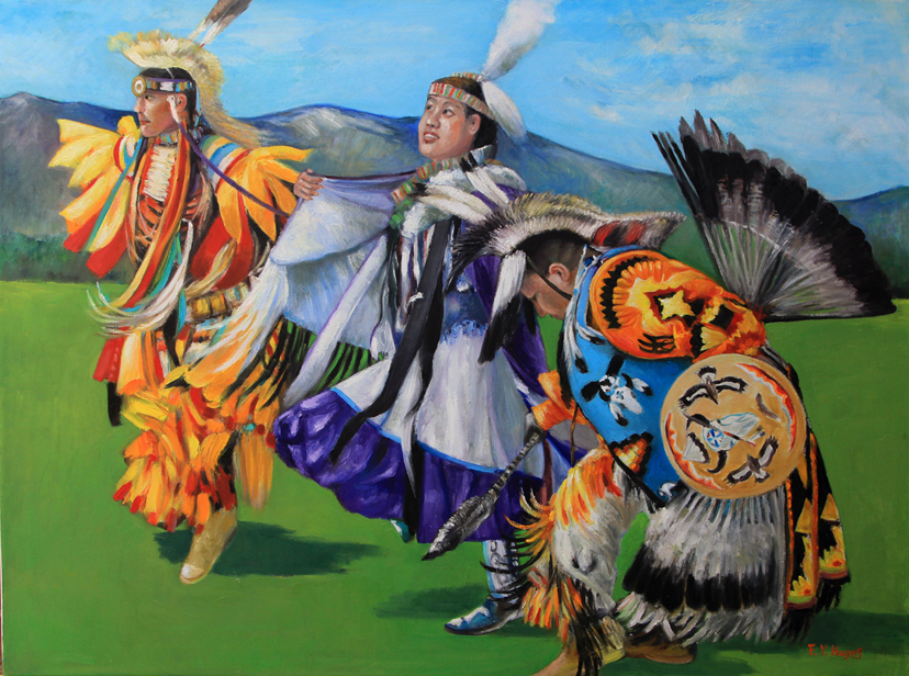 Pow Wow Dancers (oil)