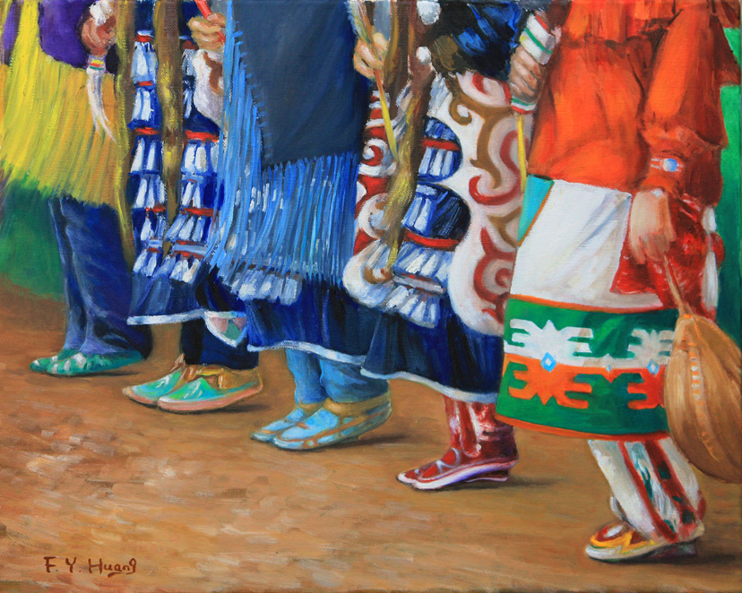 Pow Wow Female Dancers (oil)