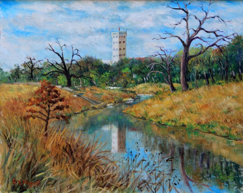 Reflection of Flour Mill on San Antonio River (oil)