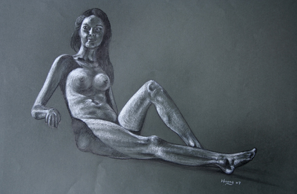 Sitting Nude (pencil and white chalk)
