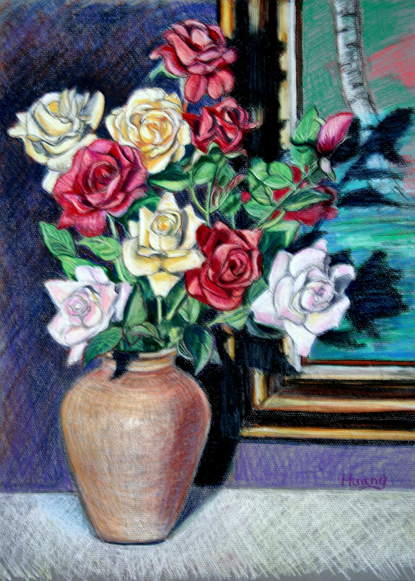 Roses and Vases (pastel)