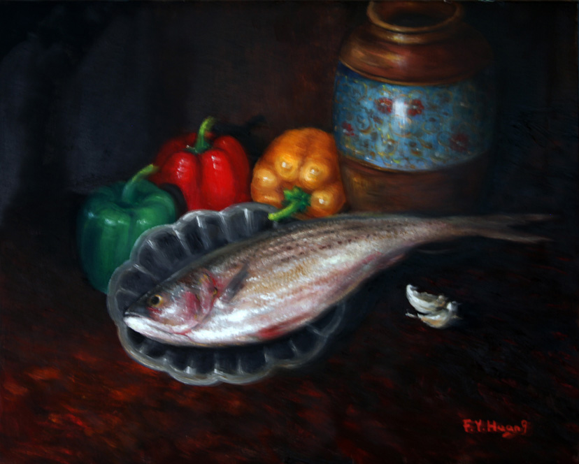 Still Life with Fish 01 (oil)