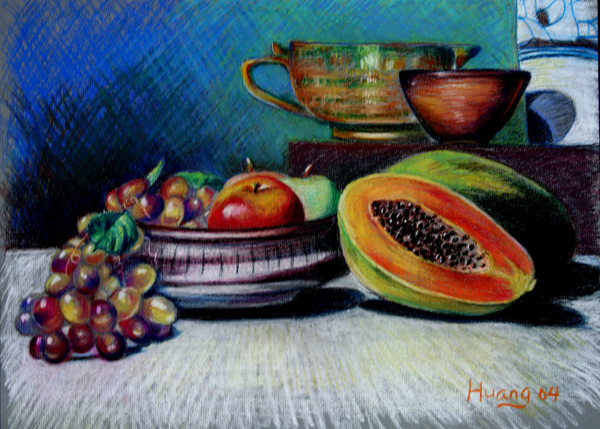 Still Life with Fruits 01 (pastel)