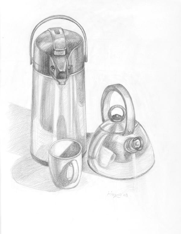 Tea Pot and Kettle (graphite)