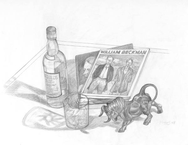 Wine Bottle_Glass_ Sculpture and Book (graphite)