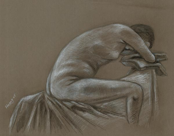 Taking a Nape (pencil ad white chalk)