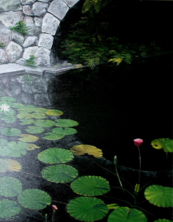 Water Lily Pond Under Bridge (oil)