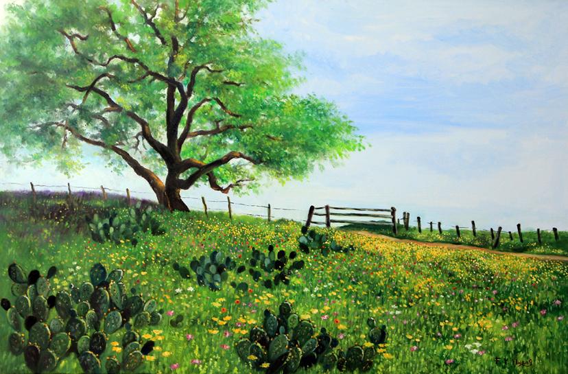Flower Field near City of Devine (oil)