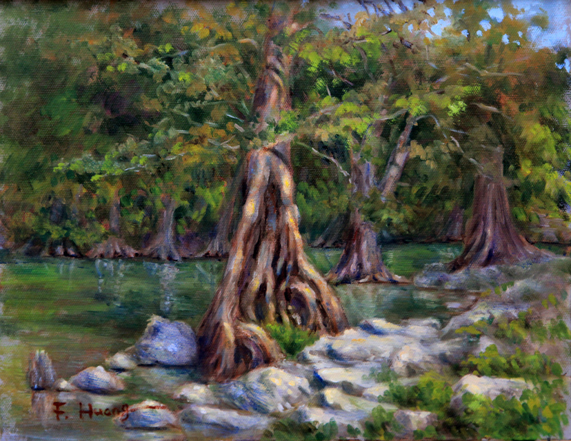 Cypress Tree on River Bank (oil)