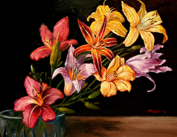 Day Lily in Vase (oil)