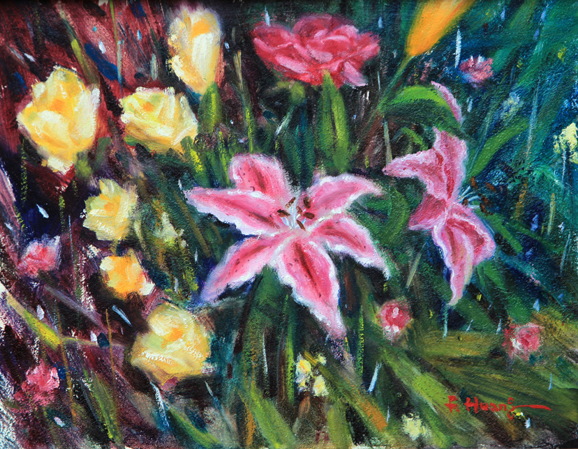 Daylily and Roses (oil)
