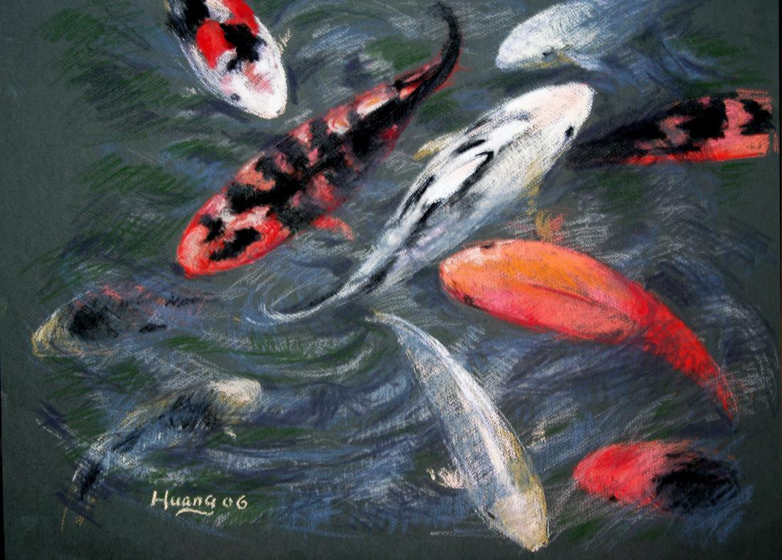 Koi Fish in Pond (pastel)