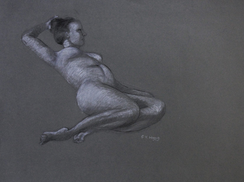 Reclining Female Study 18 (pencil and white chalk)
