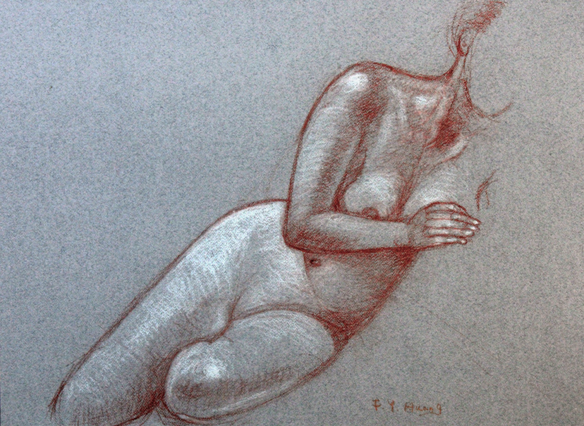 Reclining Body Study (conte and white chalk)