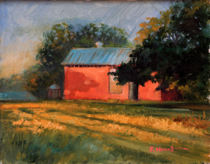 Red Barn at Sunset (oil)