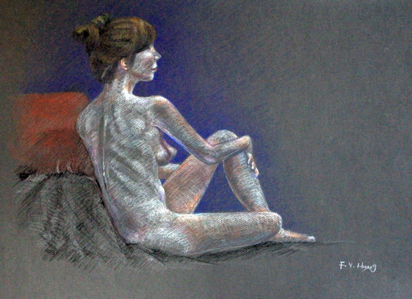 Sitting Female Study 19 (color pencil)