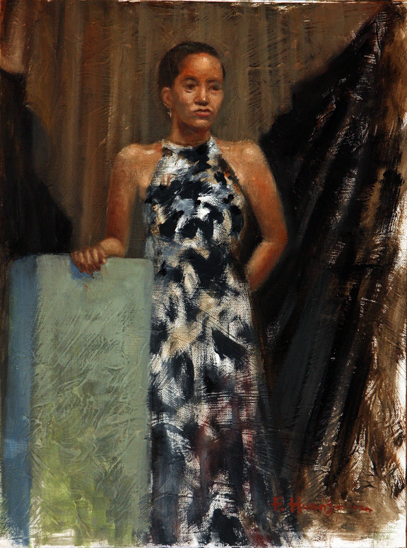 Standing with Long Dress (oil)
