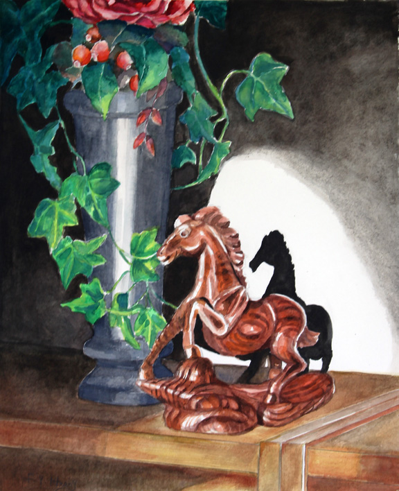 Wooden Horse and Vase (watercolor)